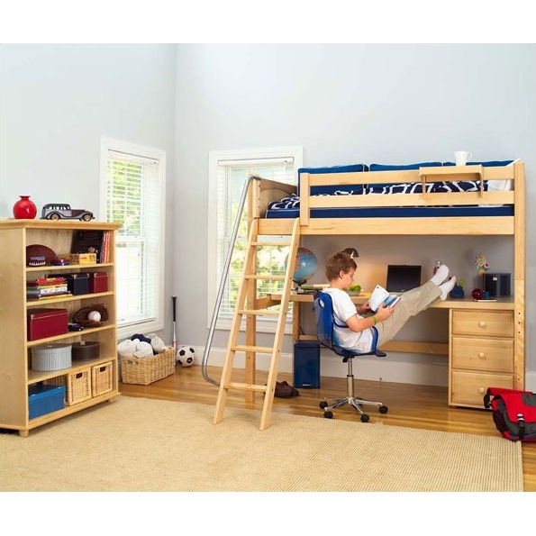 Bunk bed long desk combo in maple for boys