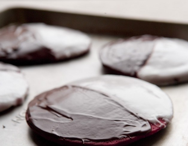 Red Velvet Black And White Cookies Recipe — Dishmaps