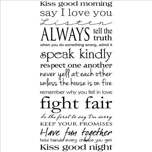 Kiss me good morning kiss me good night wall saying vinyl lettering