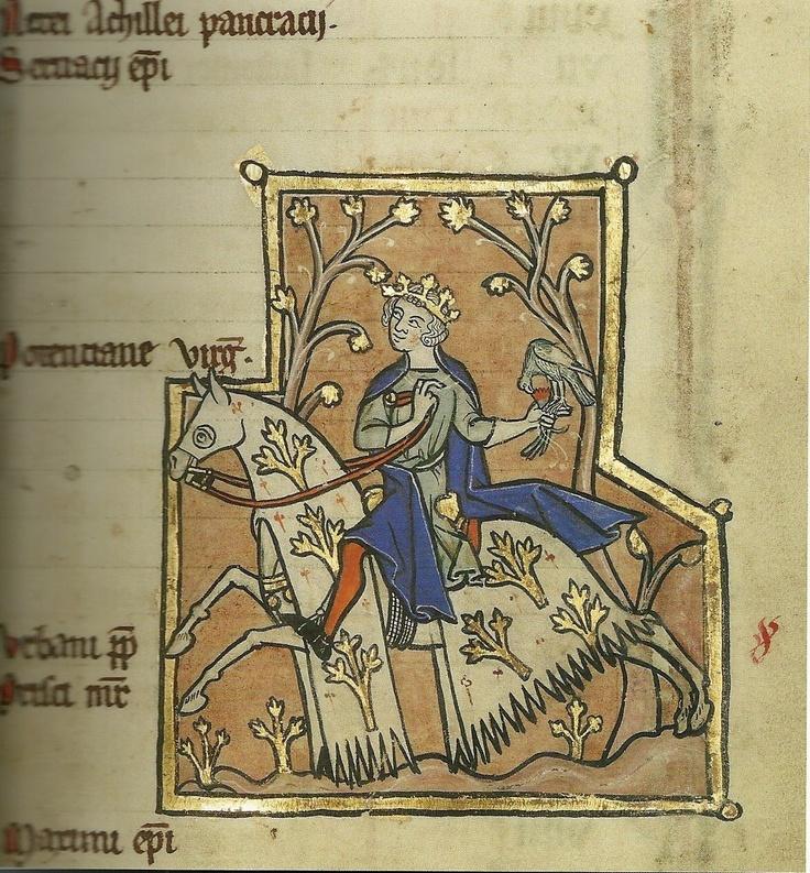 A Man Hawking - Psalter,  Flanders, ca.1250