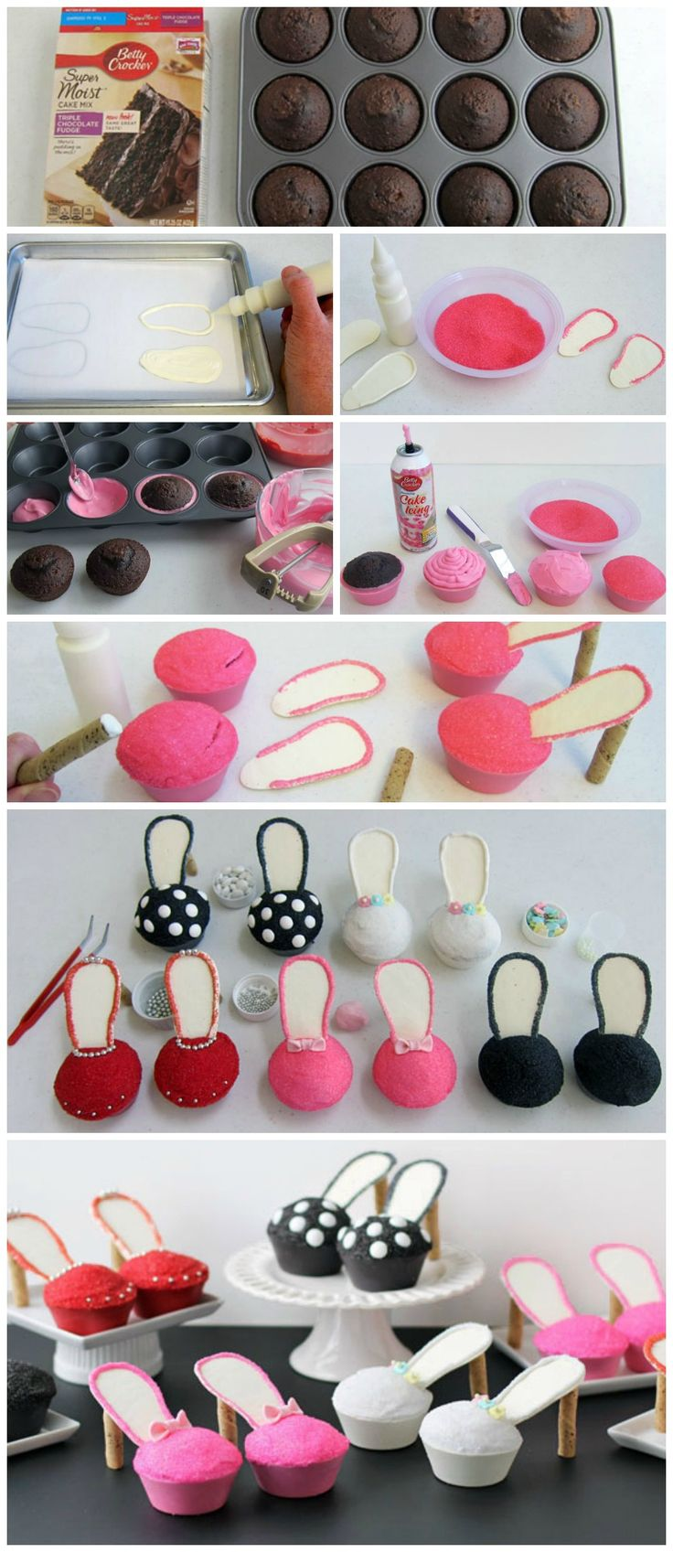 Stiletto Cupcakes How-To ~So cute and  100% edible high heel shoes... Fun for a bachelorette party, girly birthday party, bridal shower, or even for Mother's Day