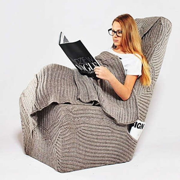 The totally knitted chair that is complete with magazine pockets and built-in blanky. | 30 Impossibly Cozy Places You Could Die Happy In