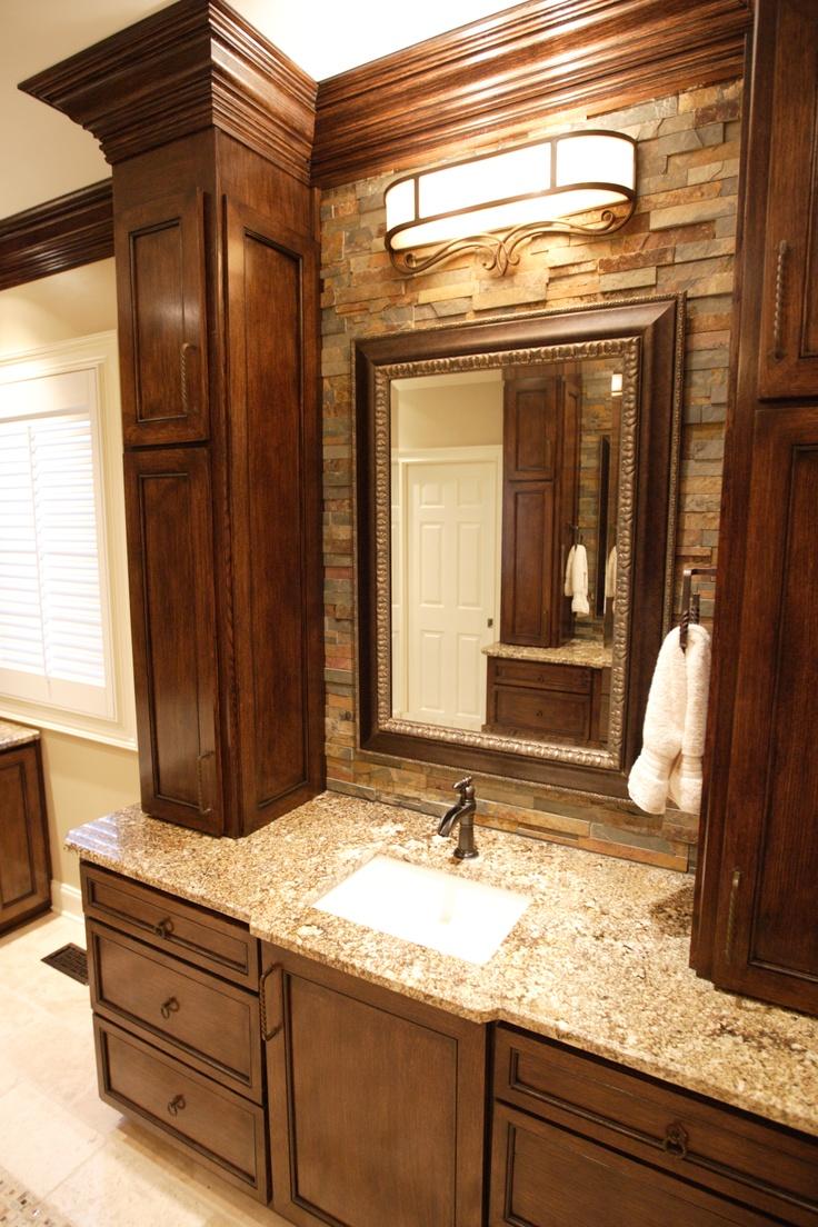 Wonderful Bathroom Vanities With Tower Storage  Custom Pine Bathroom Vanities