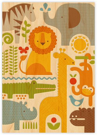 collage for paperless post safari parade baby shower invitation