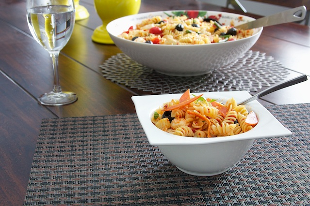 Sundried Tomato Pasta Salad, made with artichokes, asparagus, olives ...