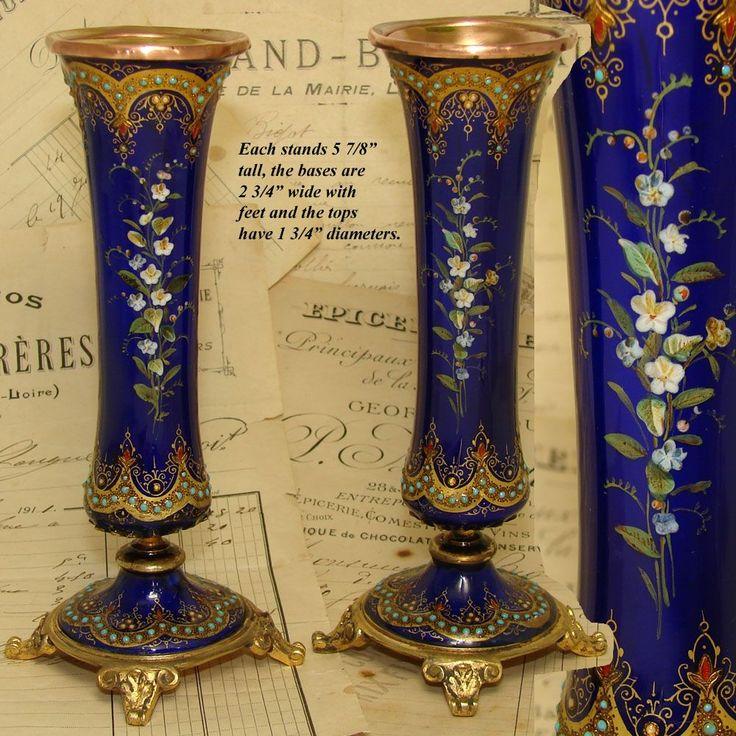 """Великолепный античный французский Севрского Эмаль & Золоченая бронза 6 """"Пози ПАРА Ваза, цветы HP & Jewels"""