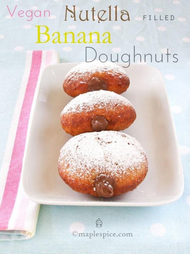 Vegan Nutella filled Banana Doughnuts | very veggie | Pinterest