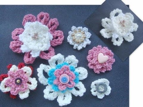 How To Crochet A Flower Tutorial For Beginners : How to Crochet a Beginner Flower. Crochet videos Pinterest
