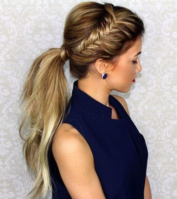 Фото прически хвоста на длинные волосы без челки