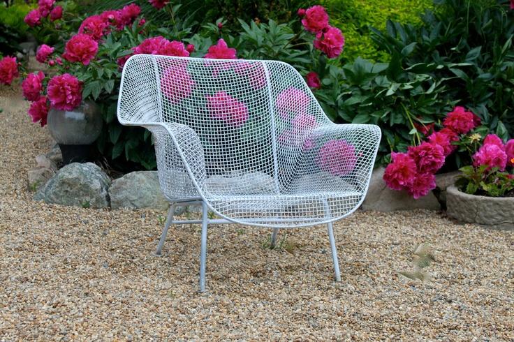 Vintage wire patio chair Mid century decor