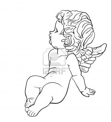 Pin by c cile cau on anges angelots gargouilles pinterest - Dessin ange noir et blanc ...