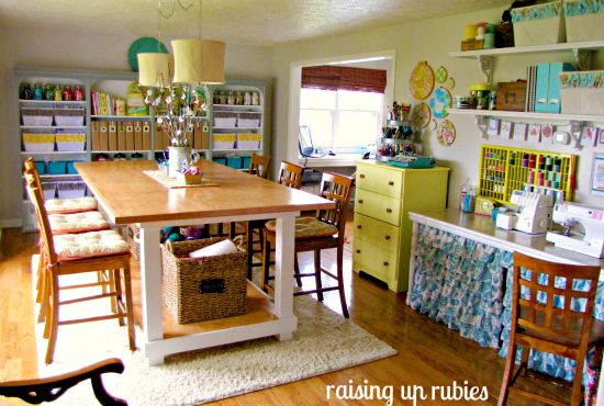 Ummm, I'm freaking out over here!  Best craft space I've seen!!!  Love the birdcage with fabric, marker organizer, big tall table, lights, ruffles, colors, jars, labels, ahhhhhhhhh, call 911!