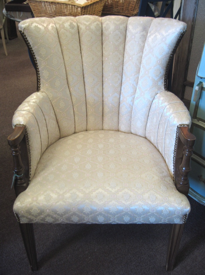 French Vintage Scalloped Back Leather Club Chair