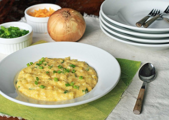 Grits With Corn And Onion Greens Recipe — Dishmaps