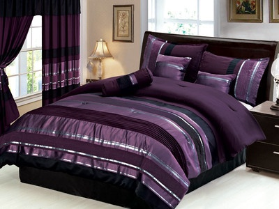 new 7 pc queen size royal purple black silver striped