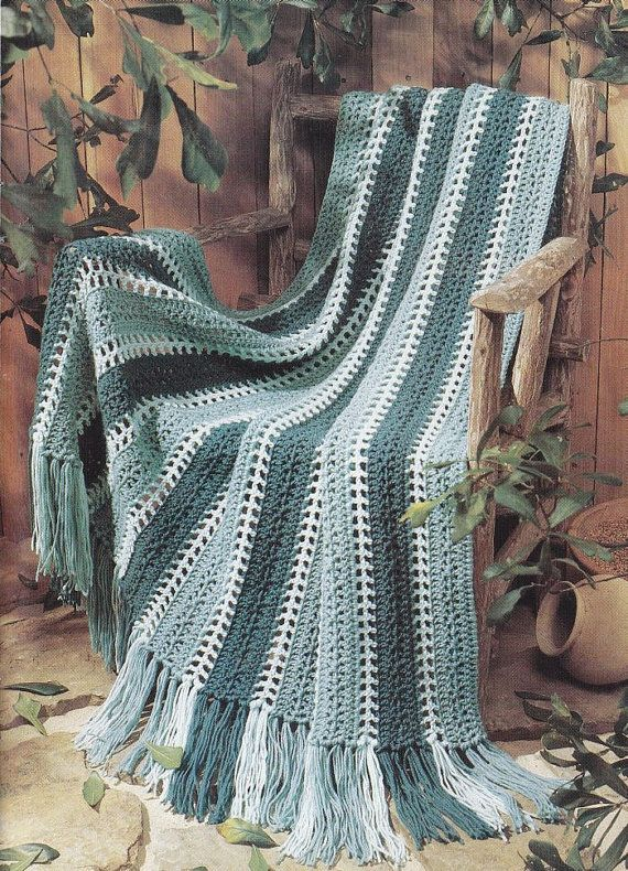 Easy Crochet Striped Afghan Patterns : Easy Striped Afghan Crochet Pattern - Shades of Green ...