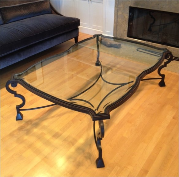 wrought iron and glass coffee table custom