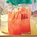 18 cool & refreshing (grown-up) drinks from Southern Living. The drink in the picture is strawberry margarita spritzers.