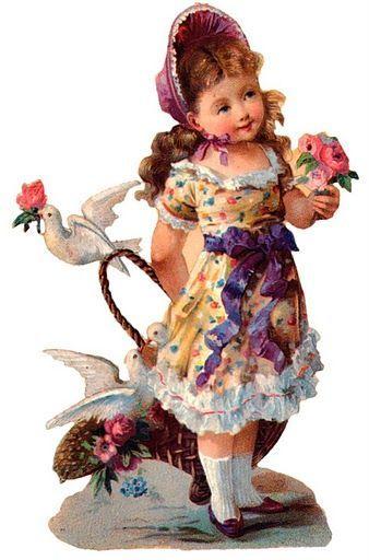 Glanzbilder - Victorian Die Cut - Victorian Scrap - Tube Victorienne - Glansbilleder - Plaatjes : Kimder mit Blumen - Children with flowers - Enfants avec des fleurs