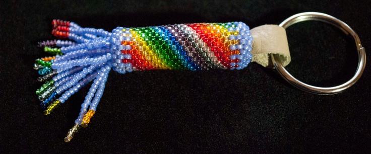 Caught Rainbow: Circular Peyote Keychain. $20.00, via Etsy.