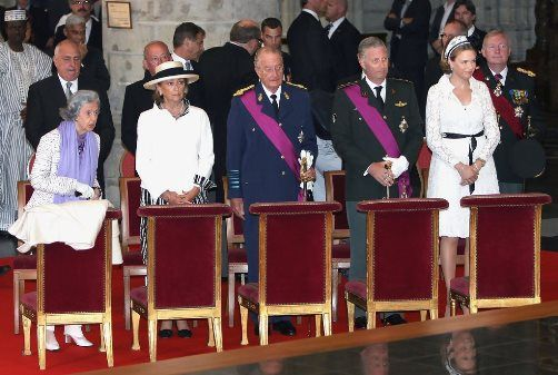 When King Albert of Belgium abdicates on July 21, 2013, he and his wife will keep their titles.  This means there will be three queens and two kings in Belgium:  Queen Fabiola, Queen Paola, and the prospective-Queen Mathilde, shown here with King Albert and the prospective-King Philippe.