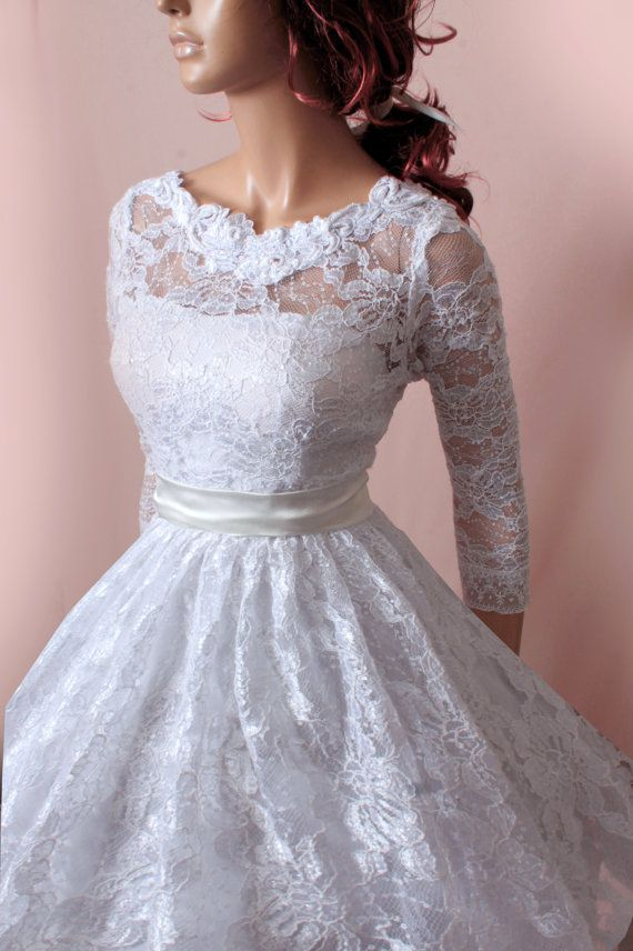 Plus Size Wedding Lace Dresses 3 4 Sleeves Bridal Gown