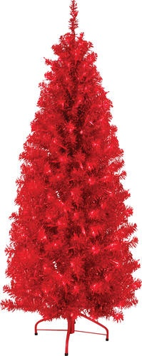 Pre lit 300 light red tinsel tree at menards