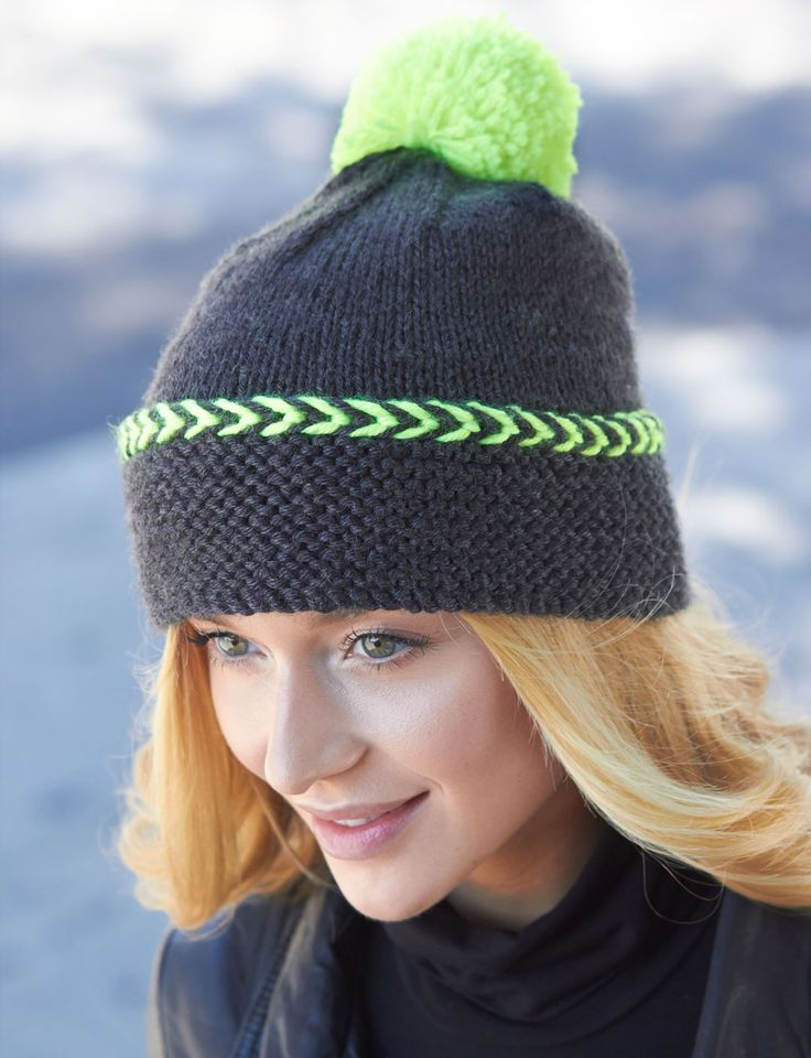 Pop of Neon Hat   Yarn   Free Knitting Patterns   Crochet Patterns ...