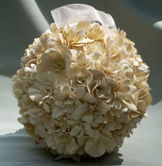 Paper Flower Kissing Ball For Weddings Bouquet Alternative