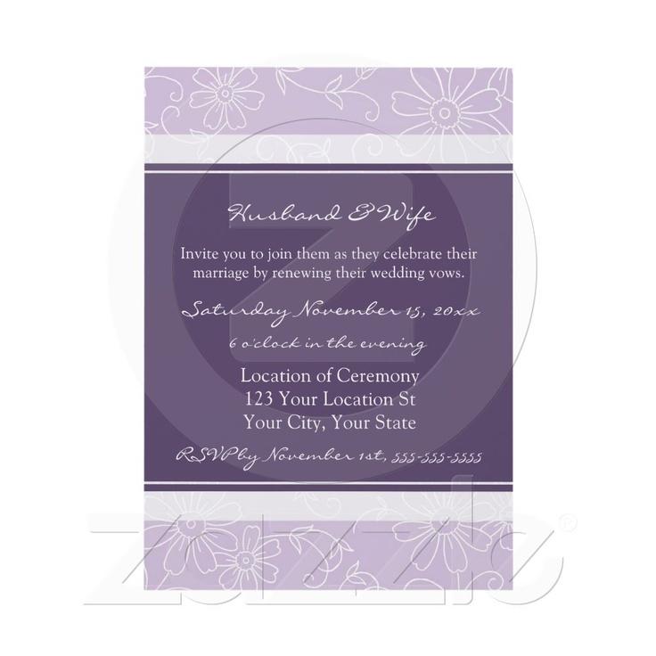 Purple White Wedding Vow Renewal Invitations