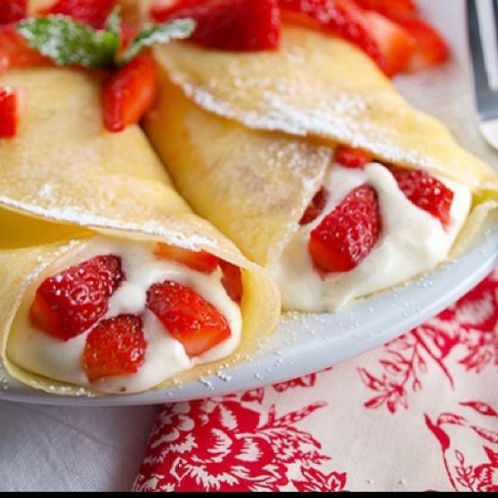 strawberry crepes | Recipes-Breakfast | Pinterest