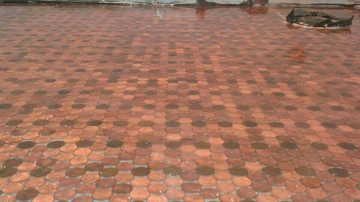 Epoxy penny floors | Decorative Concrete | Pinterest