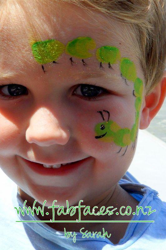 Caterpillar face painting for kids