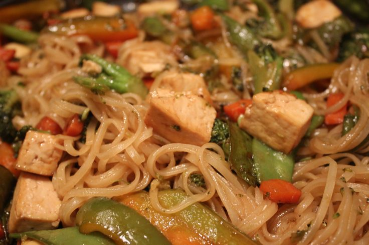 Stir Fry Rice Noodles with Tofu | Savory Stuff | Pinterest