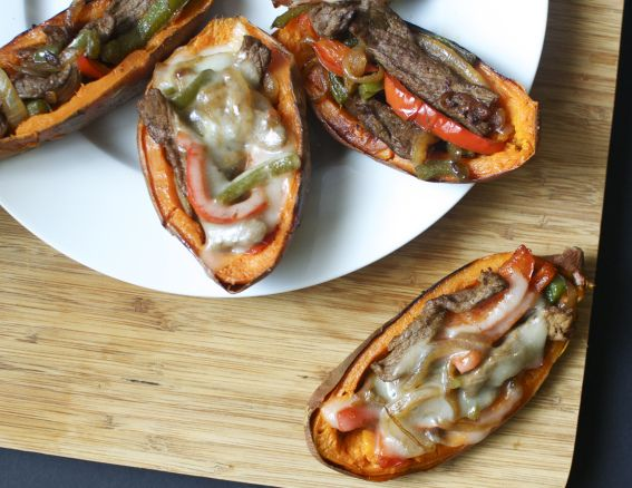 Philly Cheese Steak Stuffed Sweet Potatoes