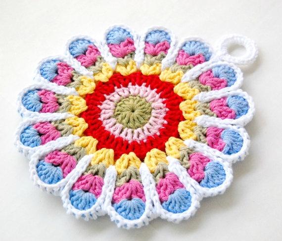 Crocheting Hotpads : Crochet Flower Potholder - Crochet Hotpad,cotton potholder, pot holder ...