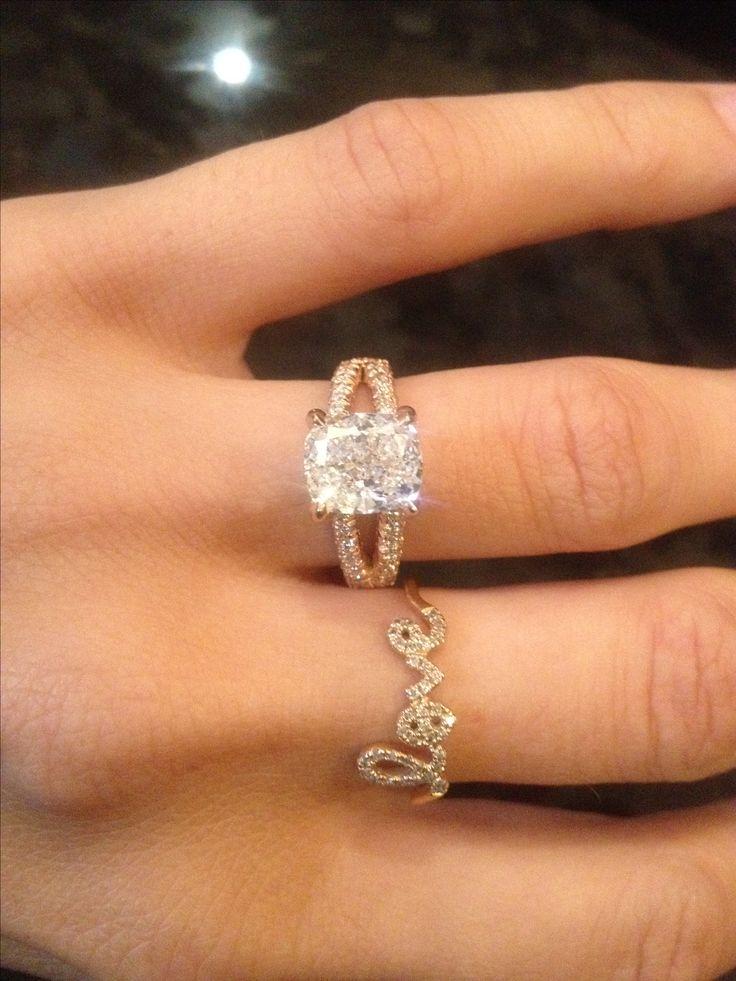 Cushion cut rose gold engagement ring Wedding ideas