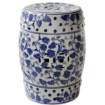 Lot Of 2 Porcelain Garden Stool Blue White 17 5 67129
