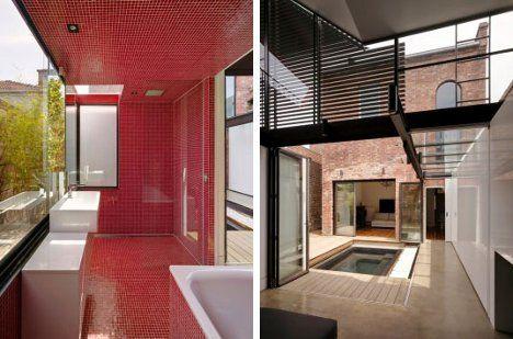 red tile bath