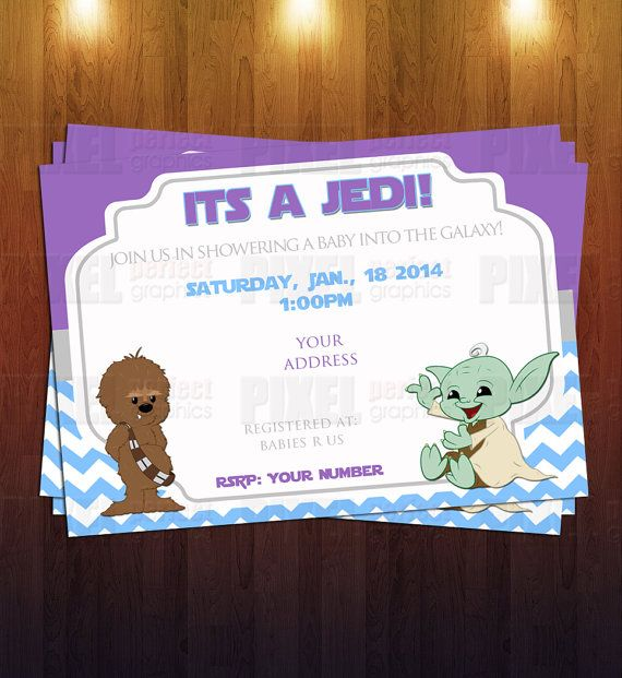 jedi star wars themed baby shower invite by pixelperfectgraphics 12