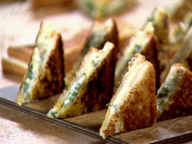 Grilled cheese appetizers with bacon oil. Wedding food!