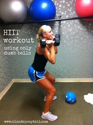 Workout using only a set of dumb bells.