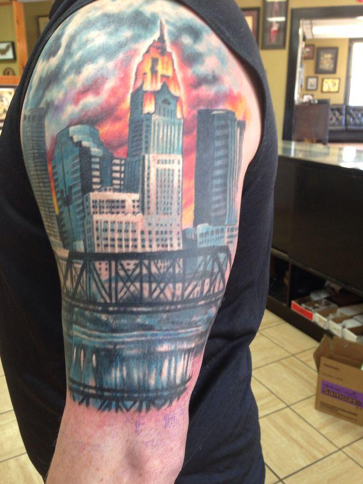 My columbus skyline tat tats pinterest for Cleveland skyline tattoo