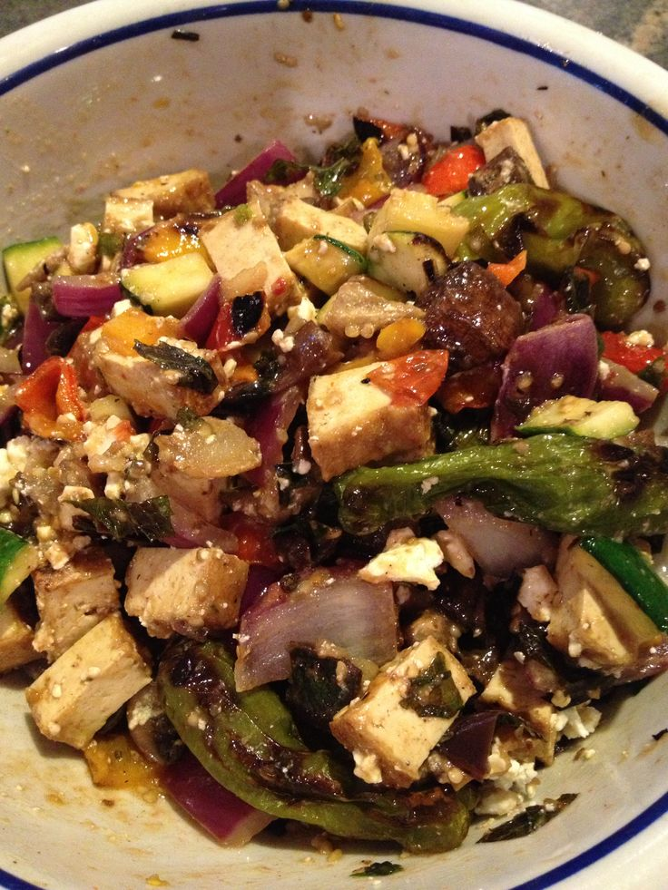 ... (eggplant, peppers, onions, squash, tofu) with feta cheese and mint