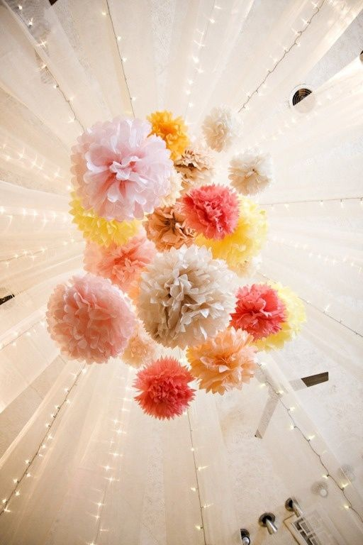 Beautiful paper flower ceiling decor wedding decor for Hanging pom poms from ceiling