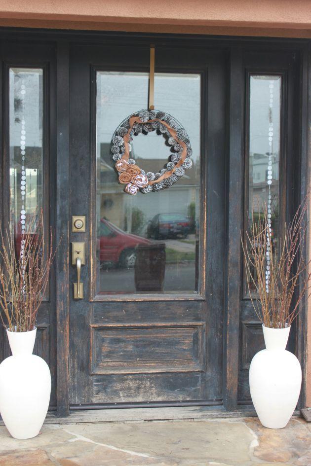 Rustic winter front door winter wonderland pinterest for Rustic exterior doors