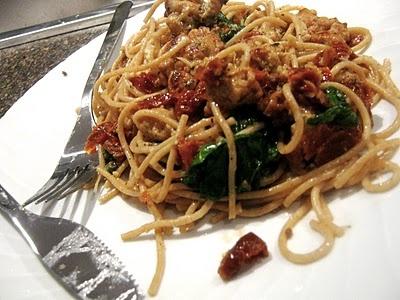 Sun Dried Tomato and Spinach Pasta