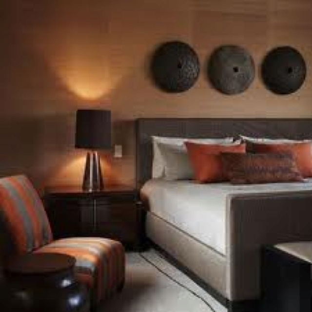love this grey burnt orange and touch of chocolate for my bedroom and