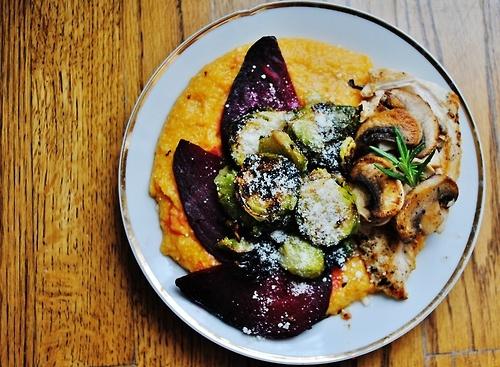 soul: pumpkin parmesan polenta with roasted beets and crispy garlic ...