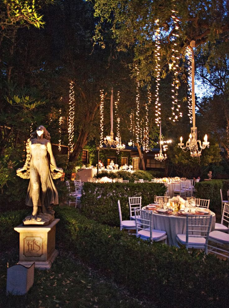 Fairy Lights Outdoor Weddings : hanging fairy lights & chandeliers #sparkle #whimsical #wedding #